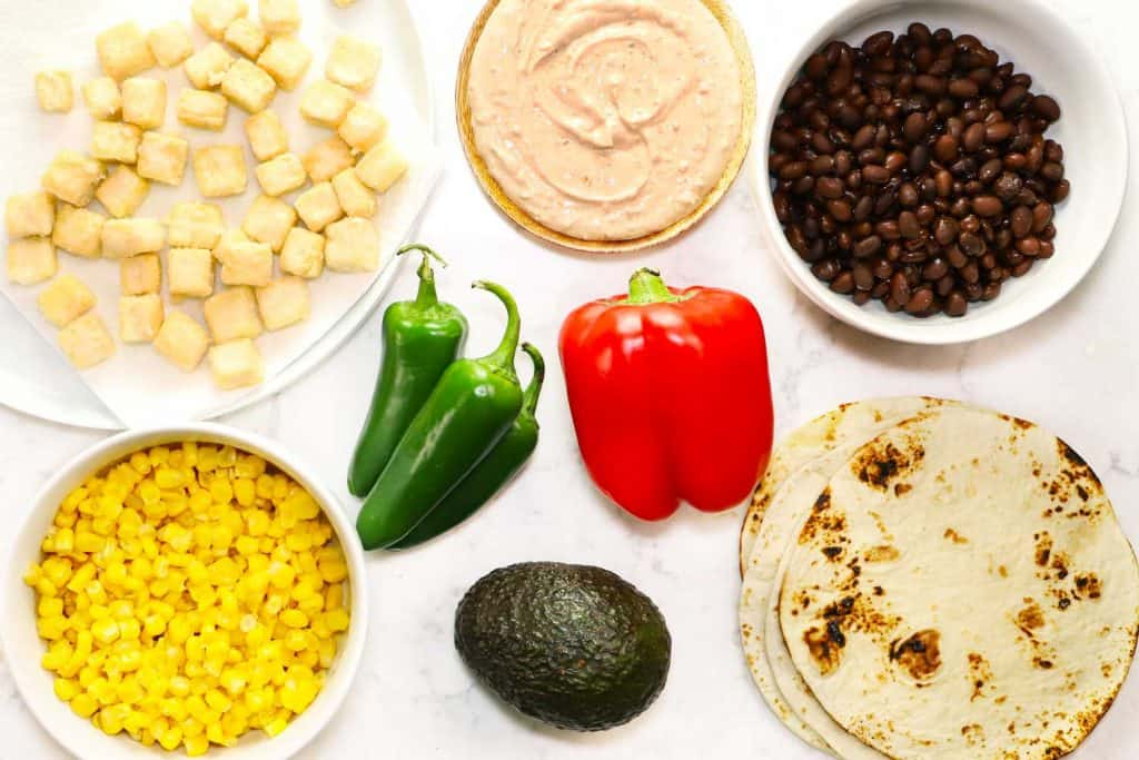 Tofu taco ingredients.