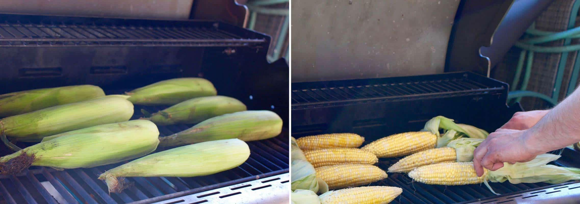 Husked and unhusked corn on grill.