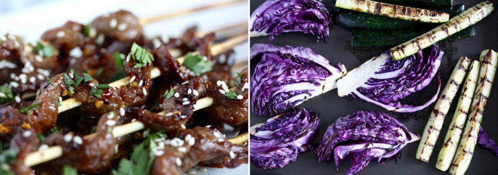 Grilled purple cabbage, grilled zucchini and beef satay with sesame seeds.