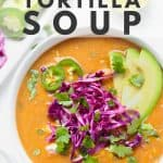 Healthy chicken tortilla soup with fresh toppings.
