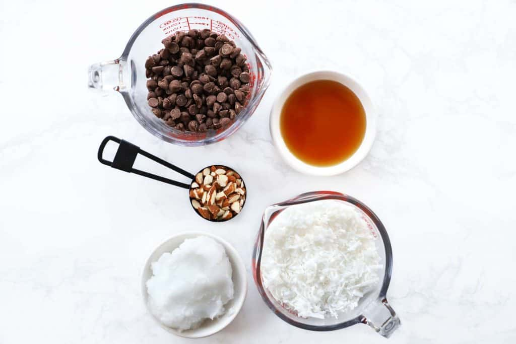 Ingredients for chocolate coconut bites.