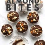Chocolate coconut almond bits on marble.