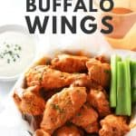 Air fryer buffalo wings with chives.