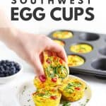 Healthy southwest eggs cups on white plate.