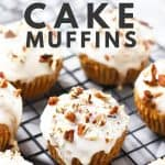 Healthy carrot cake muffins on cooling rack.