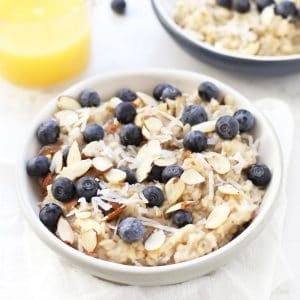 Blueberry Coconut Oatmeal in a white bowl.