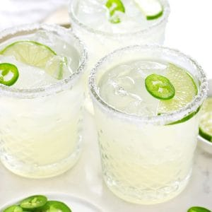 Spicy margarita is a glass.