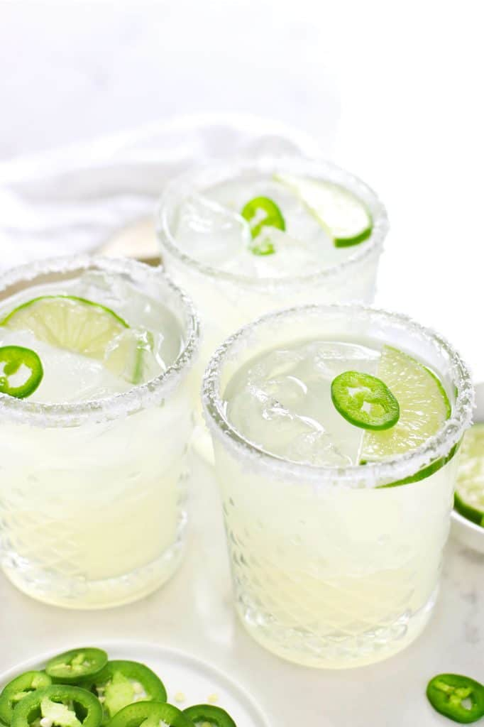 Three spicy margaritas in glasses.