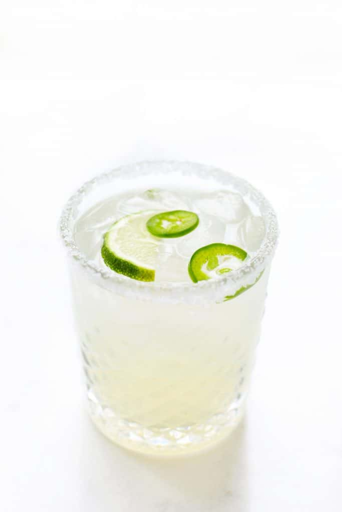 A spicy margarita in glass.