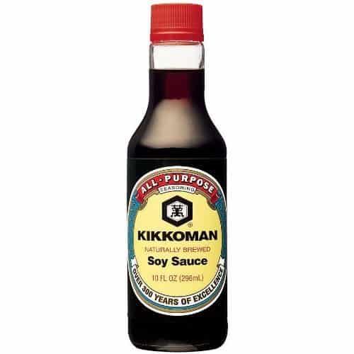 Soy sauce in bottle.