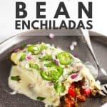 Vegetarian black bean enchiladas in a white dish.