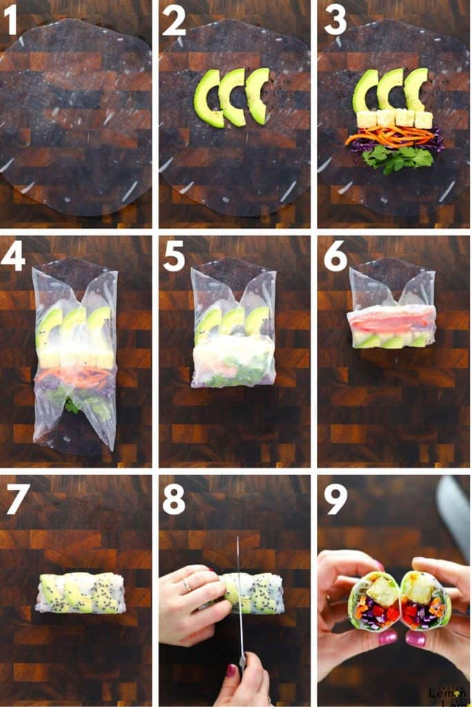 Instructions to roll a summer roll.