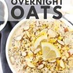 Lemon poppy seed overnight oats in white bowl with gray napkin.