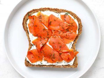 Smoked Salmon Breakfast Toast on white plate.