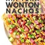 Spicy ahi tuna wonton nachos on white plate. Pinterest