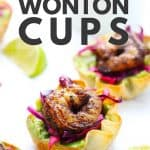 Wonton cup with shrimp on white surface.