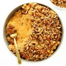 slow cooker sweet potato casserole in green bowl.