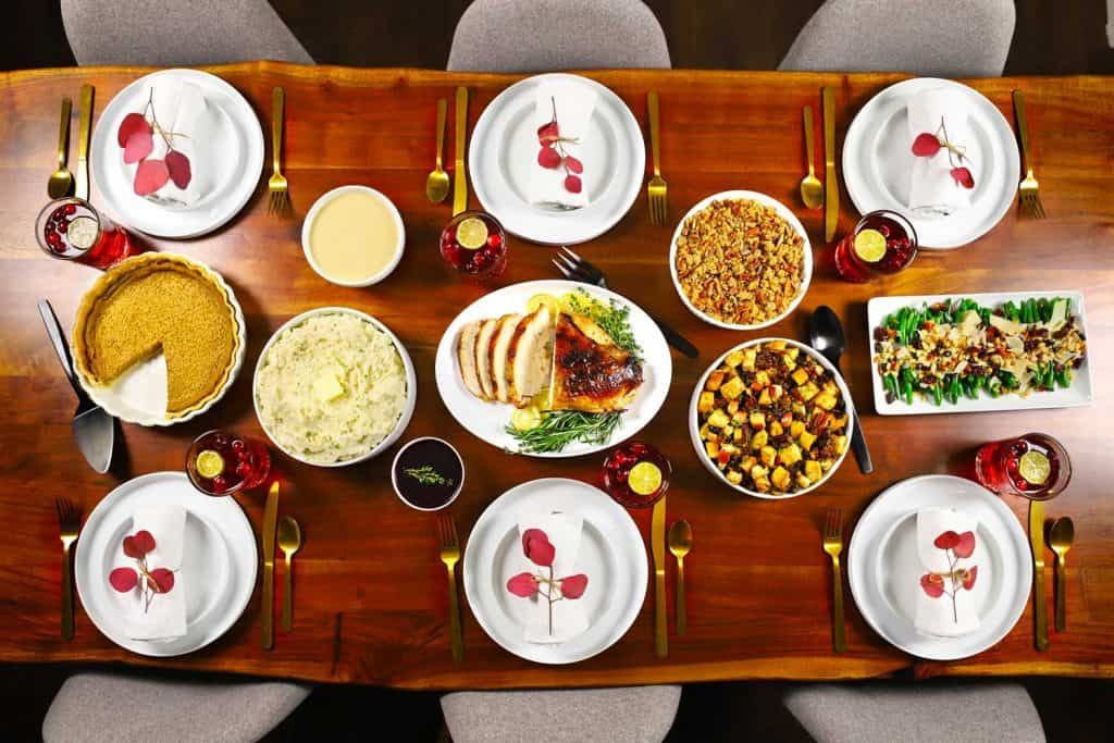 Table with make-ahead Thanksgiving dishes.