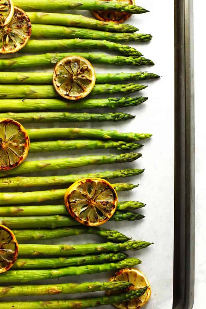 Baked asparagus on sheet pan.