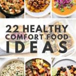 A collage of healthy comfort foods on round plates.