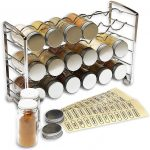 Spice rack and glass bottles.
