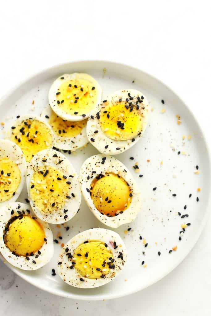 Hard-boiled eggs with everything bagel seasoning.