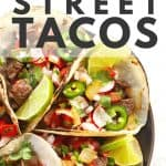 street tacos with lime wedges