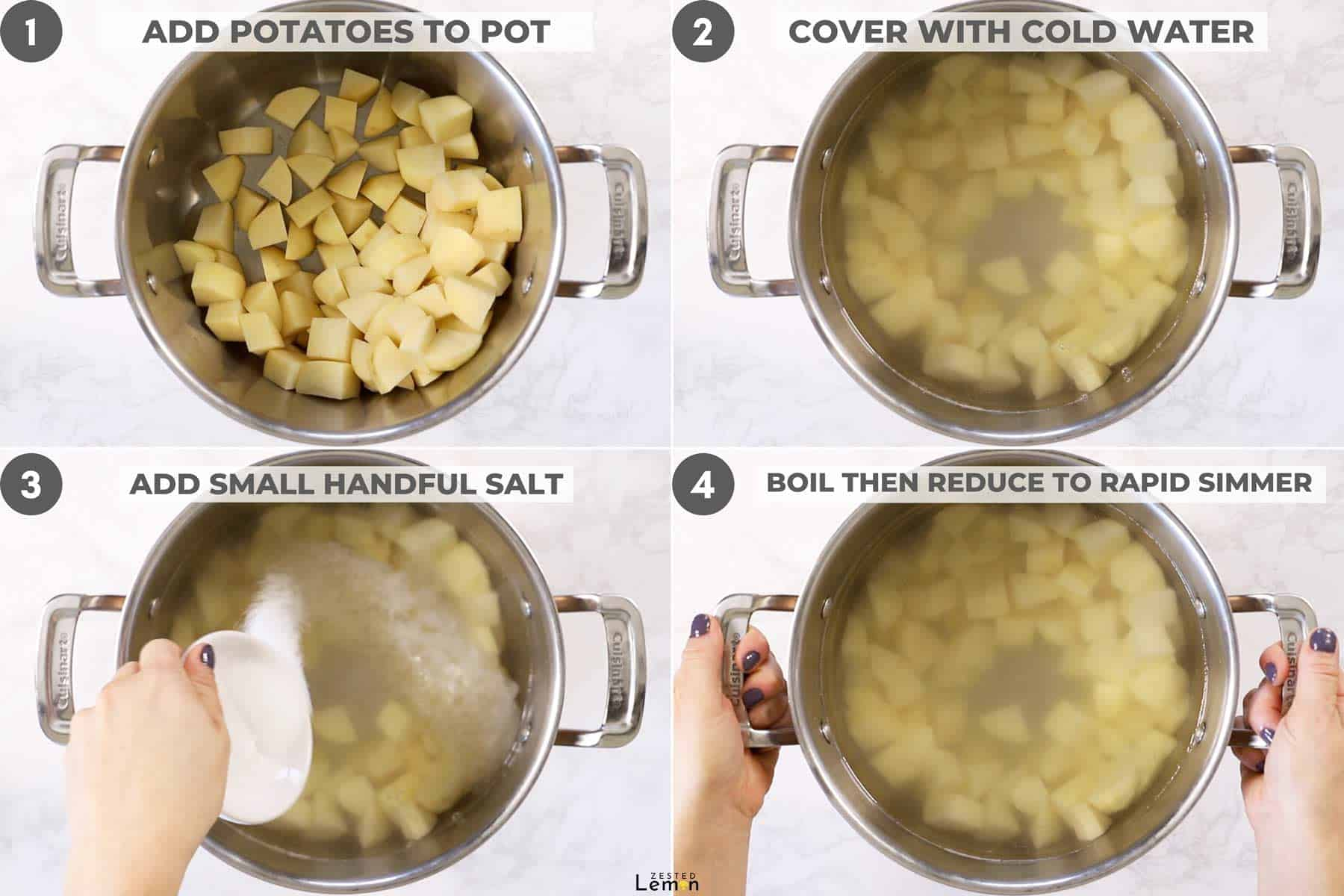 Potatoes in stock pot with water and salt.