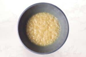 Microwaved caramel in large bowl.