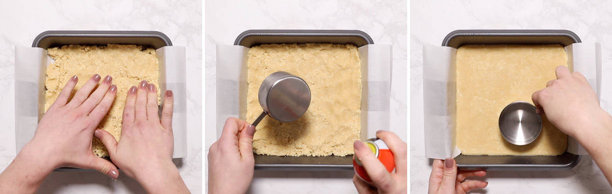 Flatten cookie dough into a baking pan.