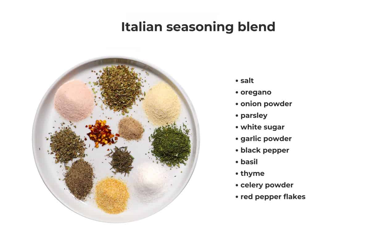 Dried spices that makeup an Italian seasoning blend on a white plate.