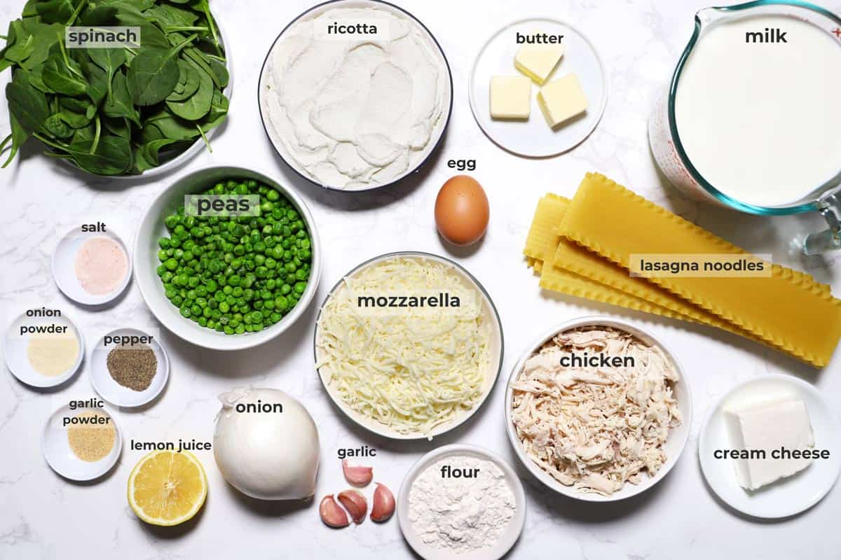 Ingredients for white chicken lasagna.