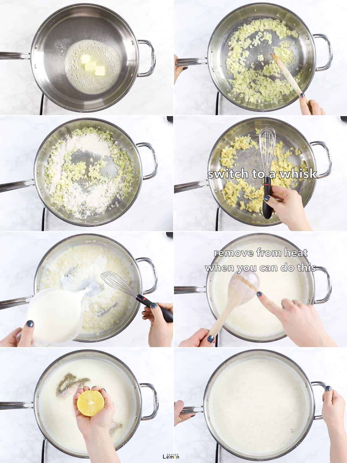 Step by step instructions to make white sauce for lasagna.