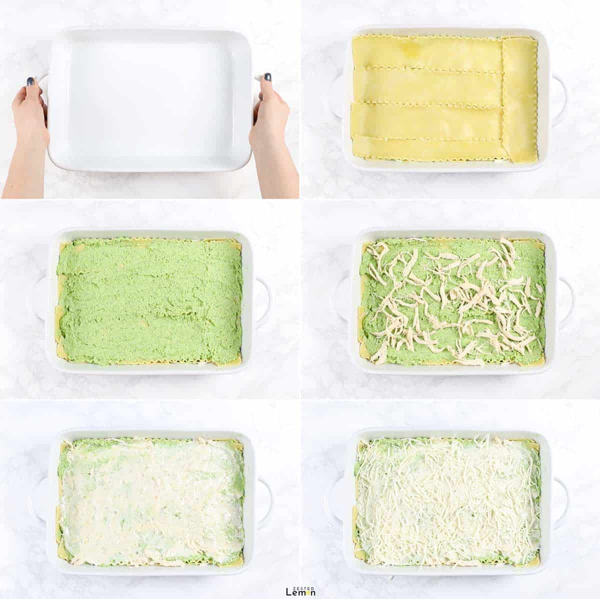 Instructions to assemble veggie loaded white chicken lasagna.