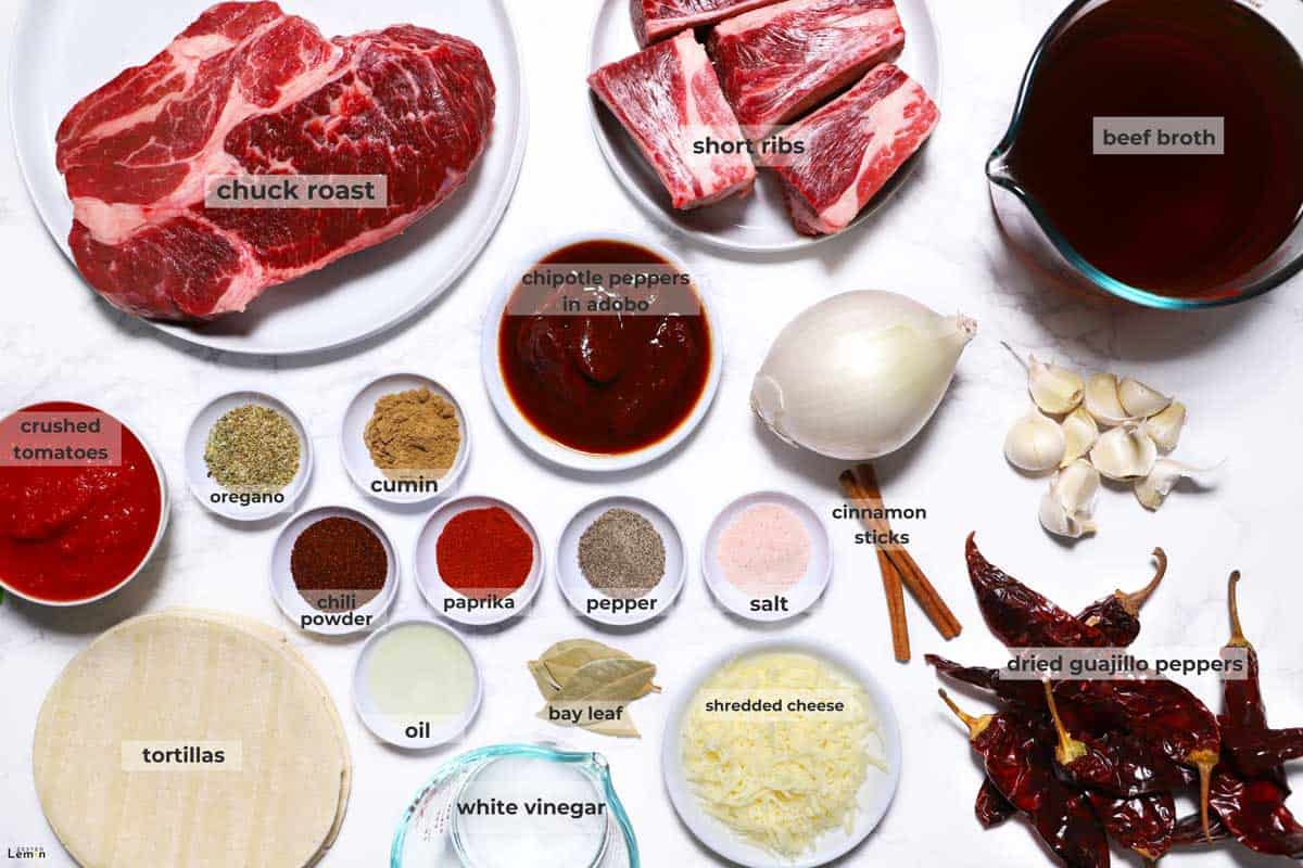 Ingredients need to make Birria Tacos.