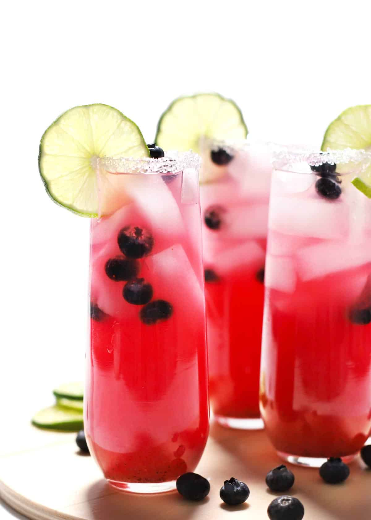 Blueberry lime margaritas with lime.