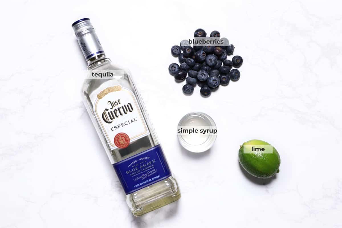 Ingredients to make blueberry margarita recipe.