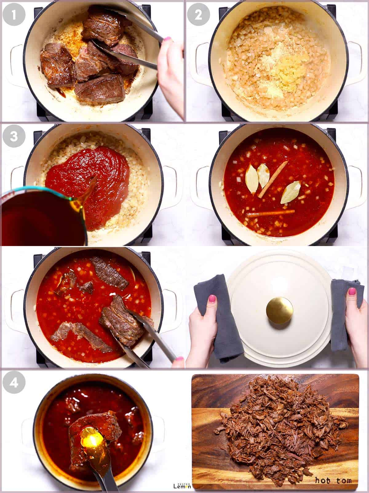 Instructions to make shredded beef for Birria Tacos.