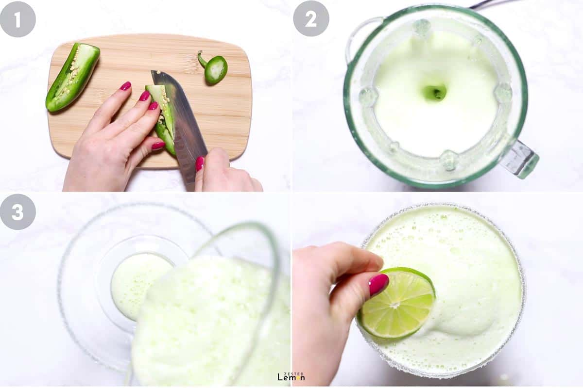 Instructions to make a frozen jalapeño margarita.