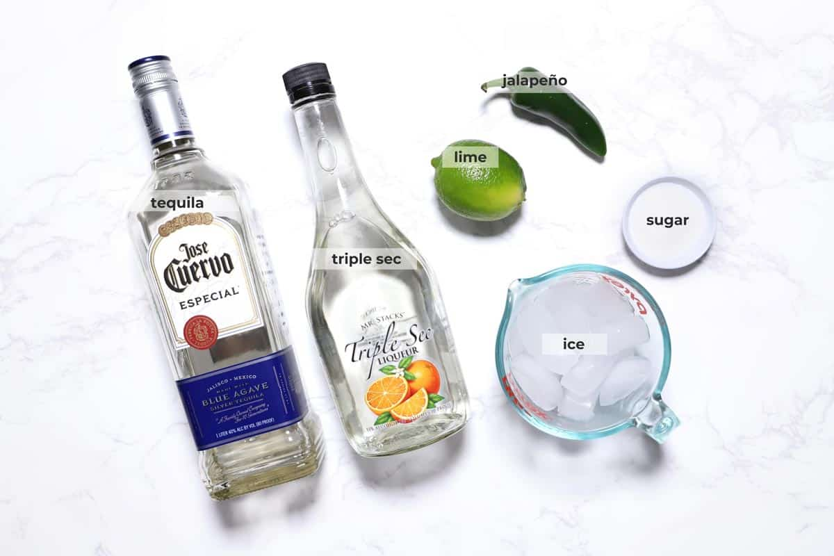 Ingredients to make a frozen jalapeño margarita.
