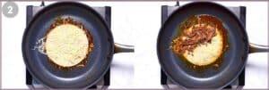 A Birria taco in a skillet.