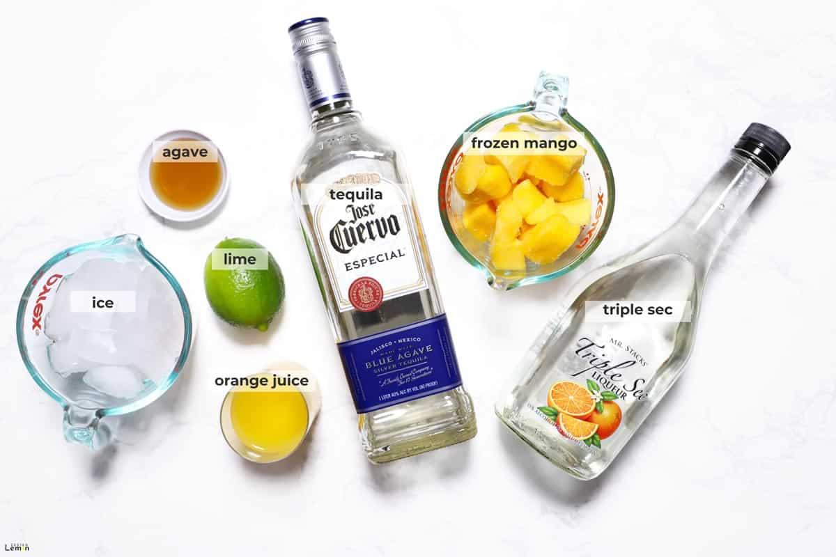 Ingredients to make mango margaritas.