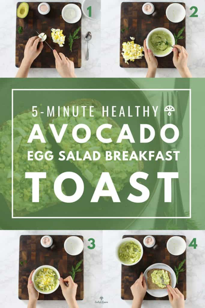 Instructions to make avocado egg salad breakfast toast.