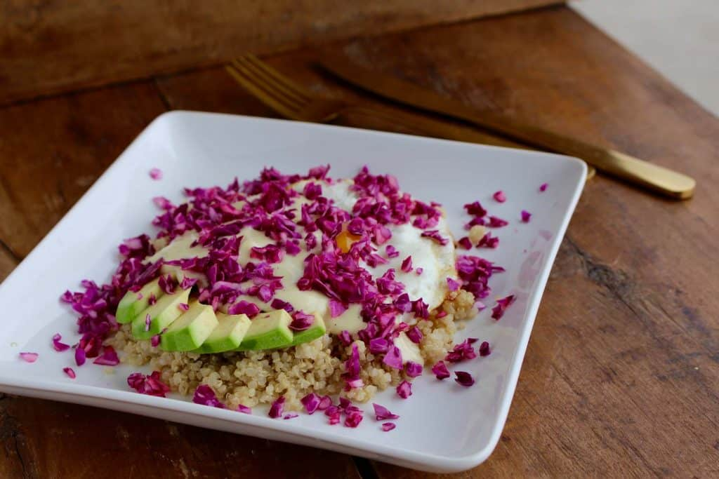 Quinoa, cabbage, avocado and egg on white plate.