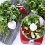 Herbs, peppers and garlic in red food processor.
