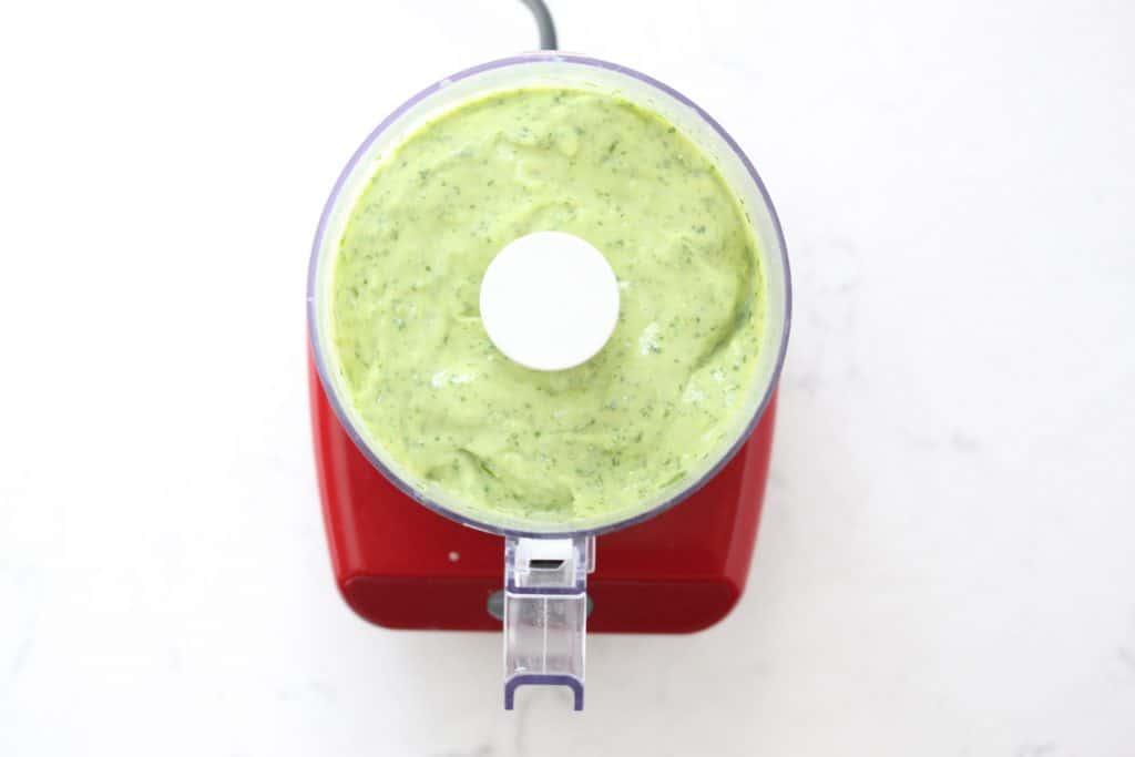 Green sauce in food processor.