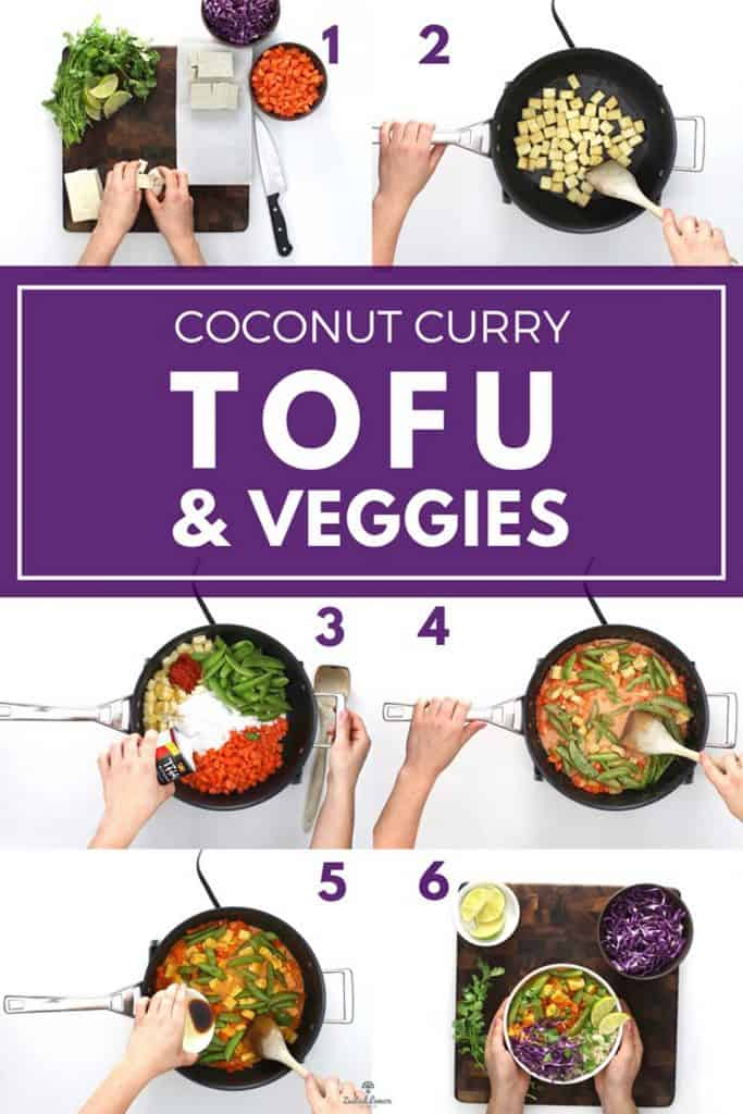 Instructions to make coconut curry tofu and veggies.