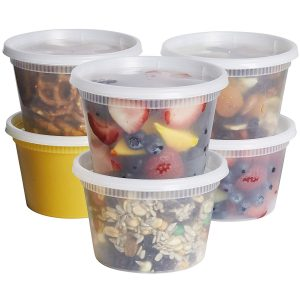 Deli containers full of food.