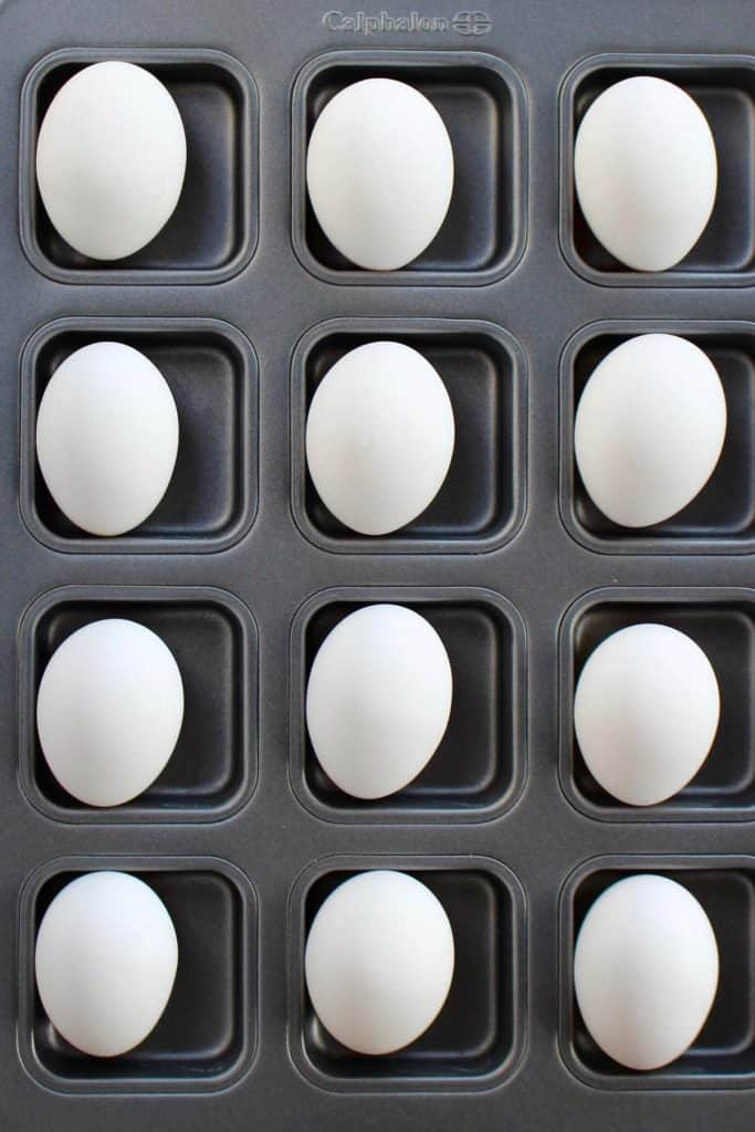 Whole eggs in cupcake pan.