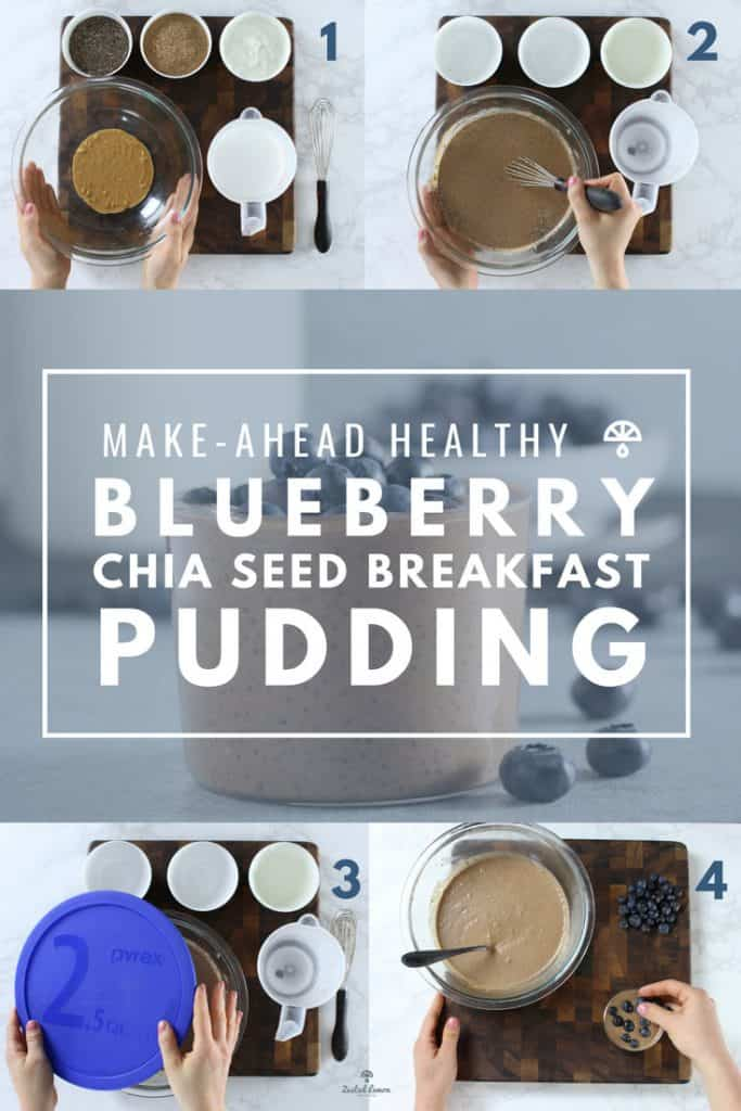 Instructions to make blueberry chia seed breakfast pudding recipe.
